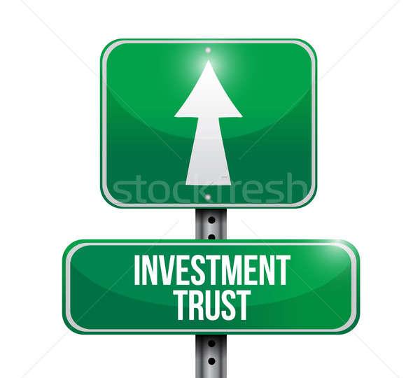 Beruházás bizalom jelzőtábla illusztráció terv fehér Stock fotó © alexmillos