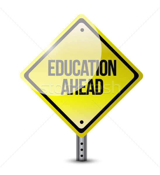 Stock fotó: Oktatás · előre · jelzőtábla · illusztráció · terv · fehér