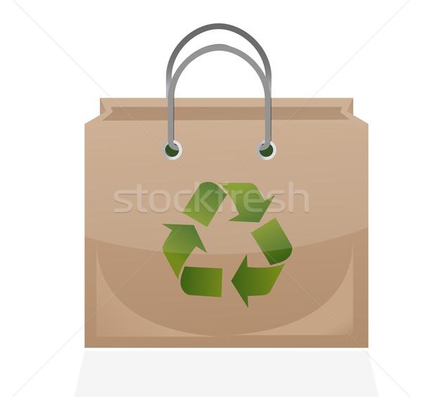 Papel pardo saco reciclar símbolo ilustração projeto Foto stock © alexmillos