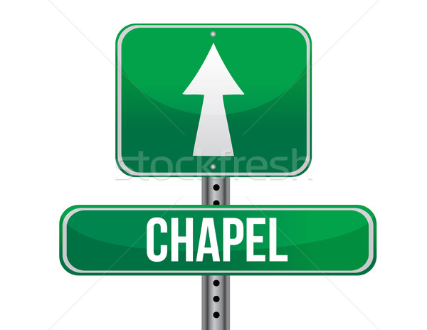 Chapel road sign Stock photo © alexmillos