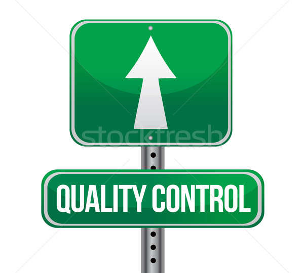 road traffic sign with a quality control concept illustration de Stock photo © alexmillos