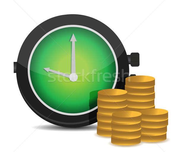Despertador dinheiro ilustração projeto branco trabalhar Foto stock © alexmillos
