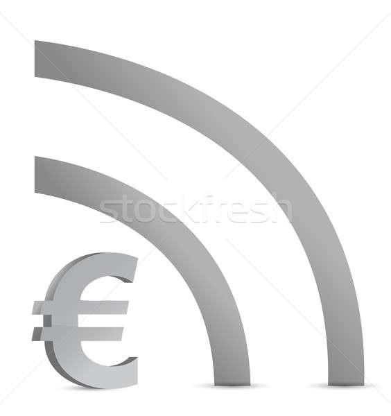 euro wifi connection illustration design over white Stock photo © alexmillos