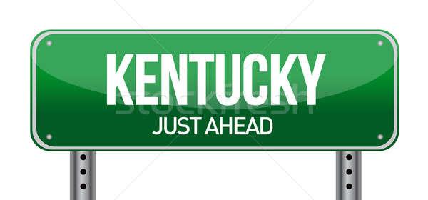 Groene Kentucky USA straat teken weg natuur Stockfoto © alexmillos