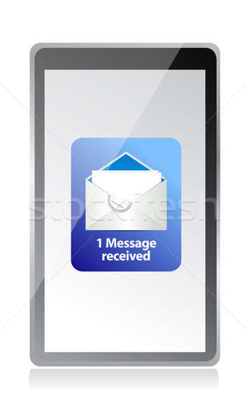 Stockfoto: Mail · tablet · illustratie · ontwerp · witte · hand