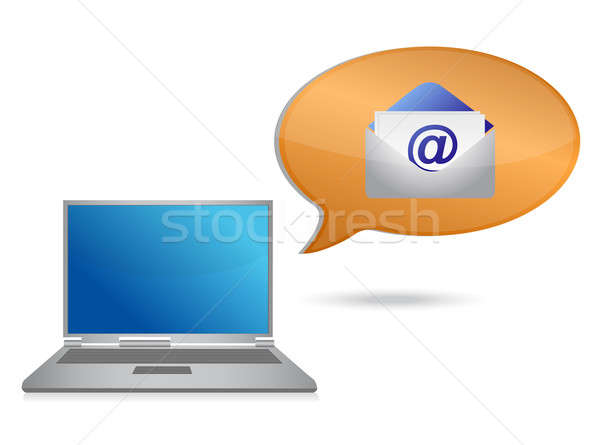 laptop and email message illustration design over white Stock photo © alexmillos