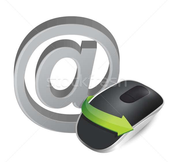 Internet sem fio mouse de computador isolado branco de volta Foto stock © alexmillos