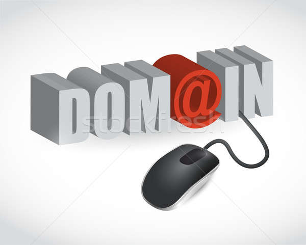 domain text sign and mouse illustration design over white Stock photo © alexmillos