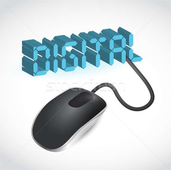 Stockfoto: Moderne · Blauw · computermuis · woord · digitale · lcd