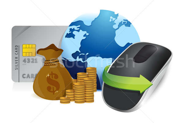 international economy and Wireless computer mouse isolated on wh Stock photo © alexmillos