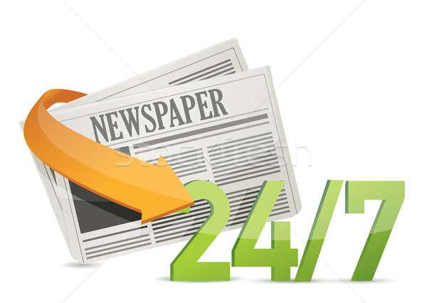 24 7 news, newspaper concept illustration design Stock photo © alexmillos