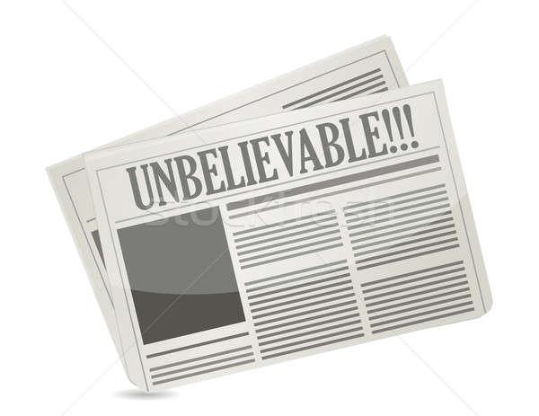 Periódico titular lectura increíble ilustración diseno Foto stock © alexmillos