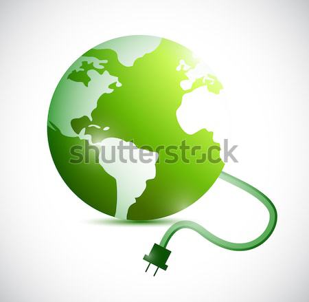 Oil spill over planet over white background. Stock photo © alexmillos