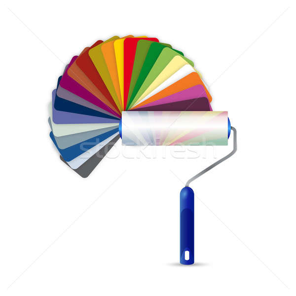 paint roller and color pallet illustration design over a white b Stock photo © alexmillos