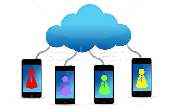 Cloud computing social team illustration design over white Stock photo © alexmillos