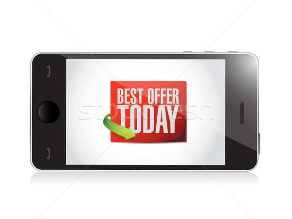 phone best offer today sign illustration design over white Stock photo © alexmillos