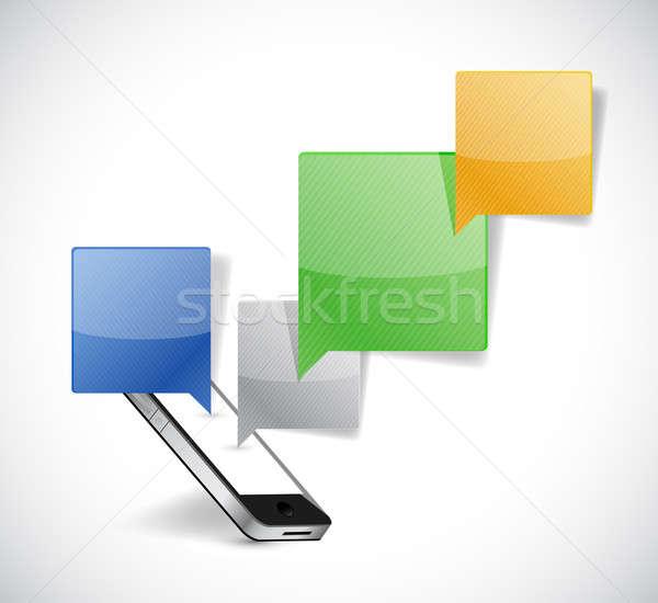 Stock fotó: Telefon · kommunikáció · illusztráció · terv · fehér · internet