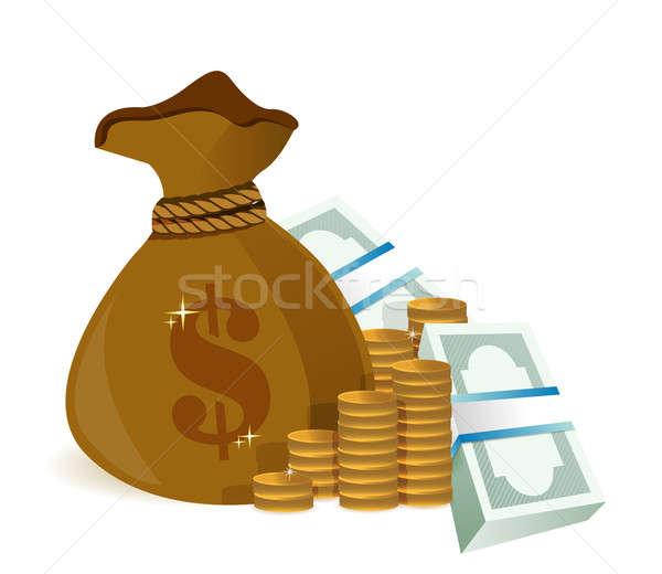 Pénz táska illusztráció terv grafikus fehér Stock fotó © alexmillos