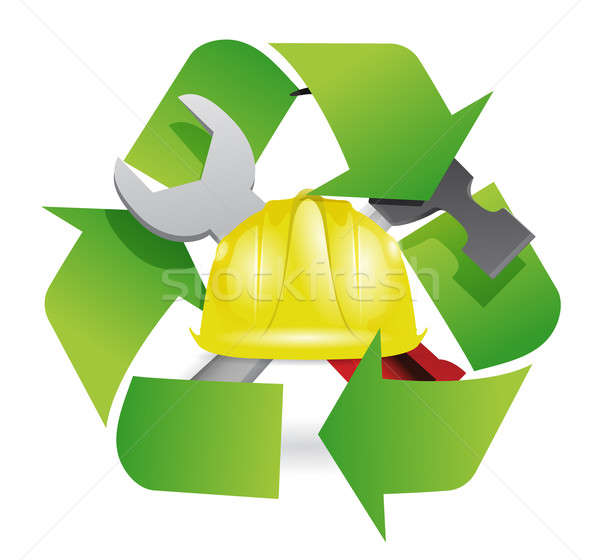Recycle and construction symbol join together Stock photo © alexmillos