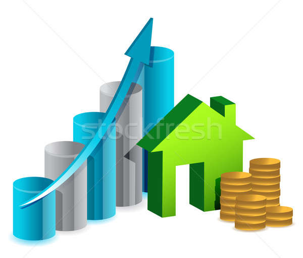 House graph and coins illustration design  Stock photo © alexmillos