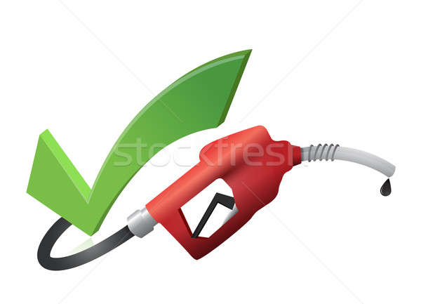 Approval check mark with a gas pump nozzle Stock photo © alexmillos