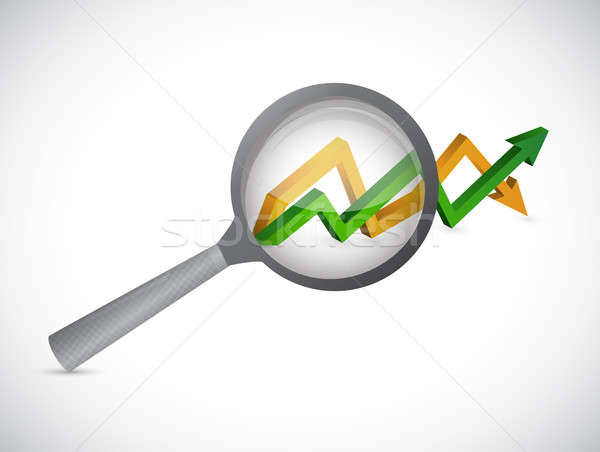magnify glass over an arrow graph isolated Stock photo © alexmillos