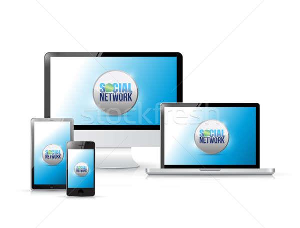 Social media connectiviteit elektronica illustratie ontwerp telefoon Stockfoto © alexmillos