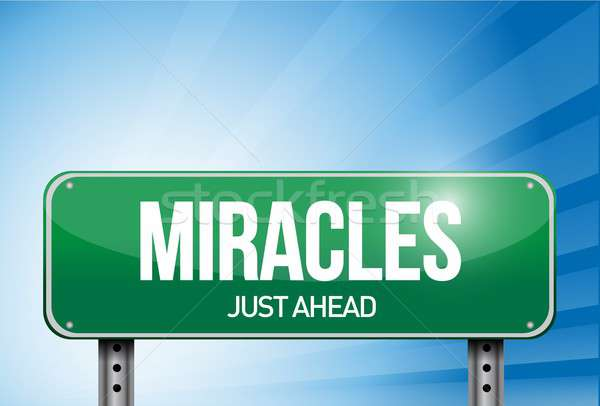 miracles road sign illustration design over a sky Stock photo © alexmillos