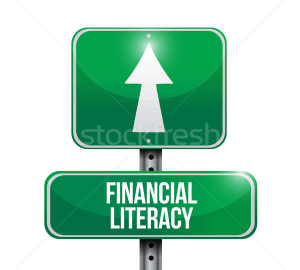 financial literacy road sign illustrations design Stock photo © alexmillos