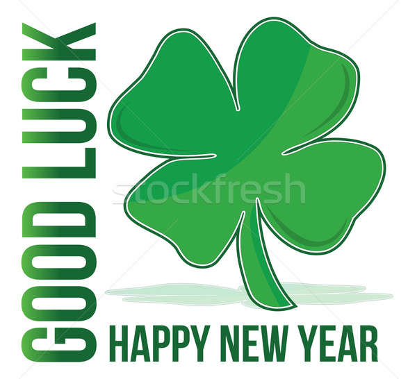 happy new year green clover good luck illustration Stock photo © alexmillos