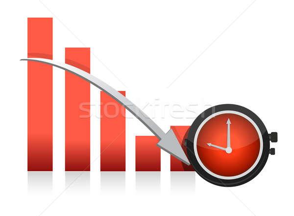 clock and falling chart illustration design Stock photo © alexmillos