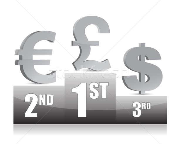 Dollaro euro yen segni podio soldi Foto d'archivio © alexmillos