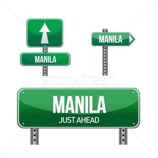 Stok fotoğraf: Manila · şehir · yol · işareti · örnek · dizayn · beyaz