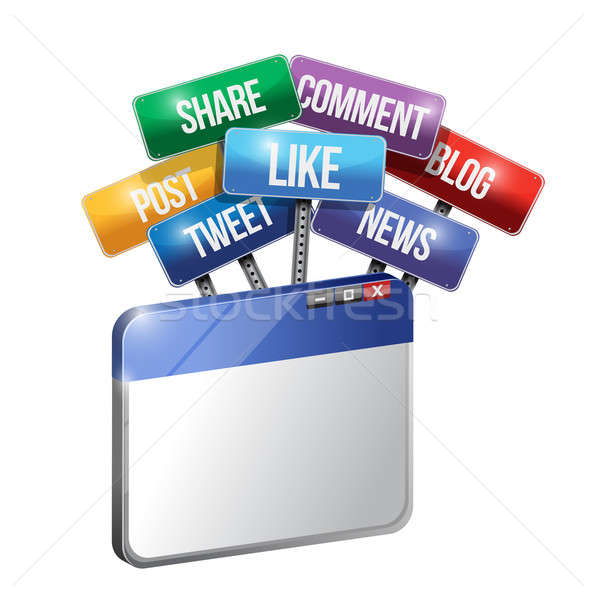 browser and social media and services sign illustration design o Stock photo © alexmillos