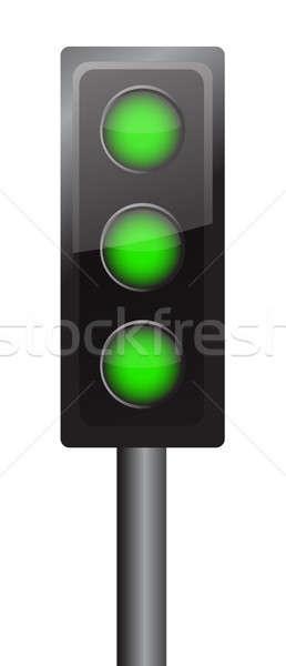 all lights in green illustration design traffic sign Stock photo © alexmillos