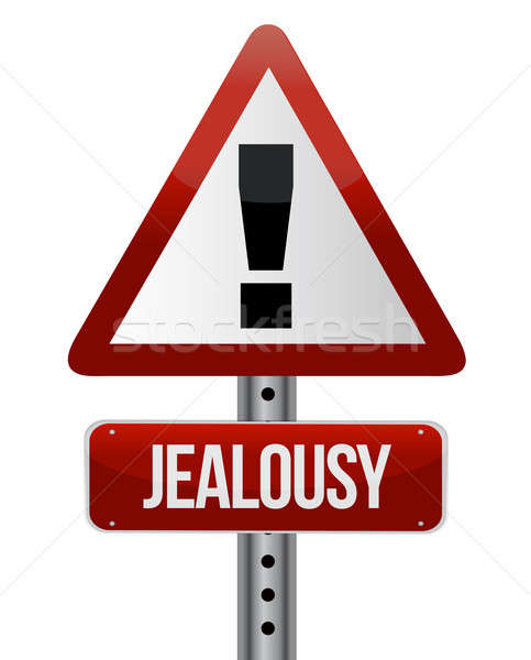 Warning sign with a jealousy Stock photo © alexmillos