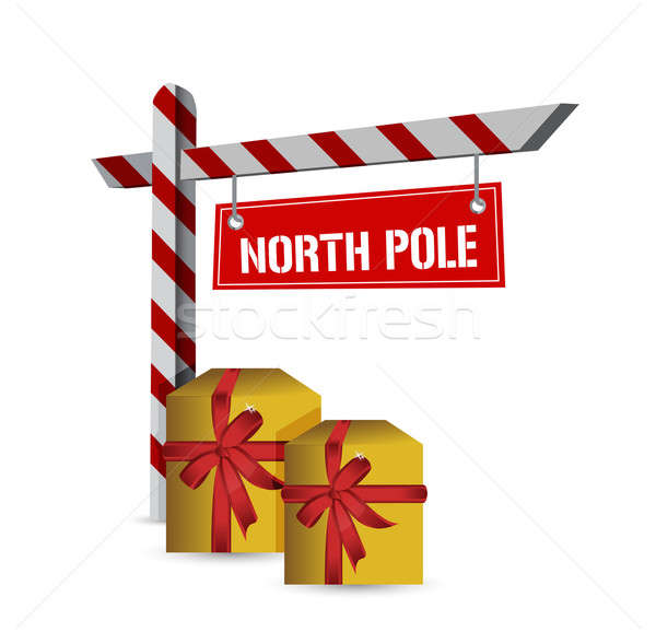north pole gifts sign illustration design over a white backgroun Stock photo © alexmillos