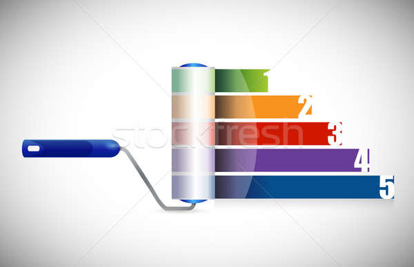 paint roller business graph illustration design over a white bac Stock photo © alexmillos