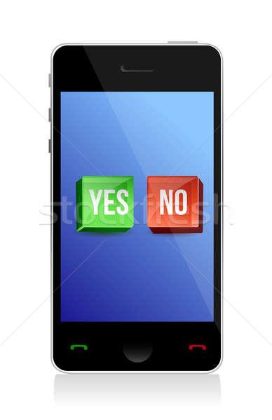 да нет Кнопки телефон иллюстрация дизайна Сток-фото © alexmillos