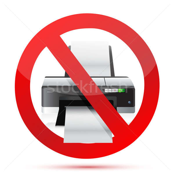 printer do not use sign illustration design over white Stock photo © alexmillos