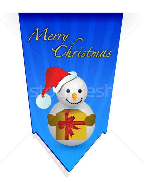 Stok fotoğraf: Kardan · adam · Noel · afiş · örnek · kâğıt · dizayn