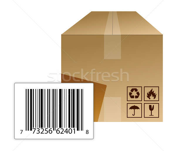Box with a barcode Stock photo © alexmillos