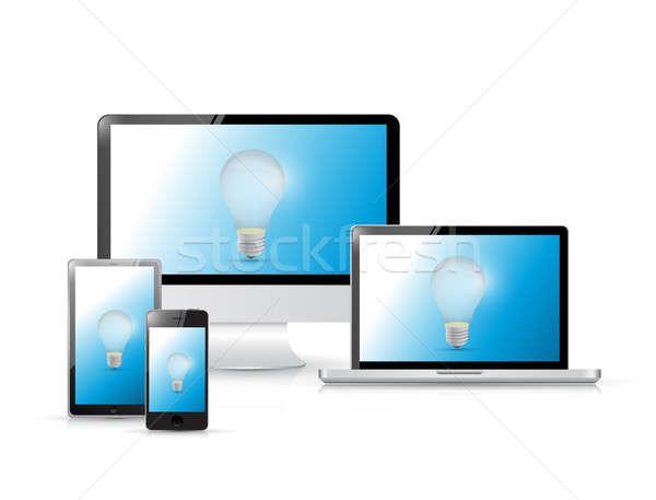 Idee elektronica computer telefoon ontwerp Stockfoto © alexmillos