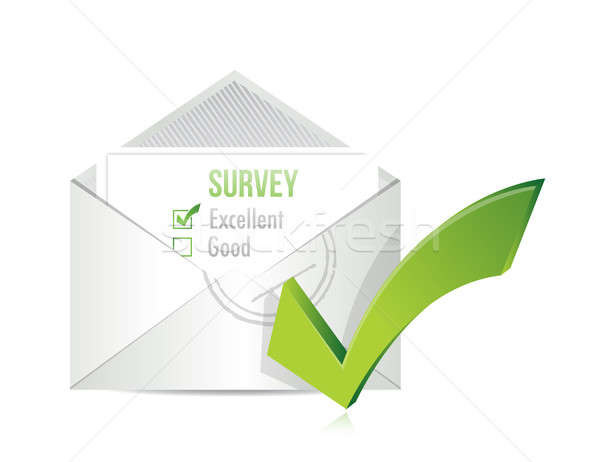 Survey by mail. checkbox letter illustration  Stock photo © alexmillos