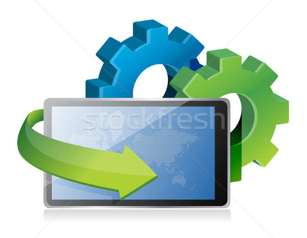 tablet and gears illustration design over a white background Stock photo © alexmillos