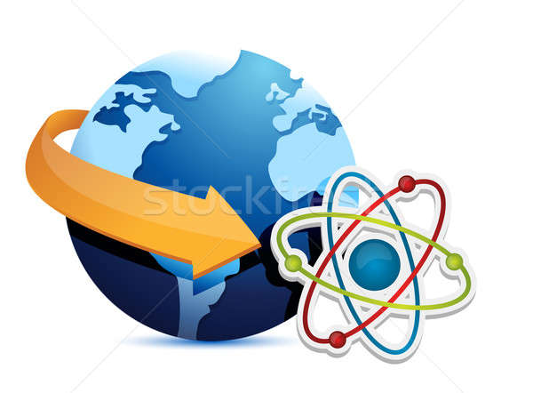 Stock photo: globe arrow and atom illustration design over a white background