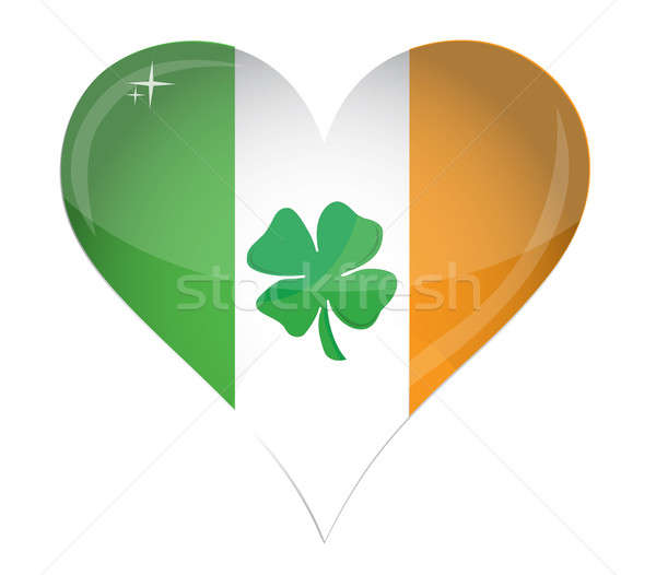 Ireland Flag Heart Glossy and clover illustration design over wh Stock photo © alexmillos
