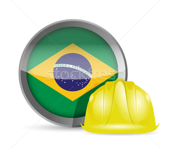 Brazilian flag and construction helmet Stock photo © alexmillos