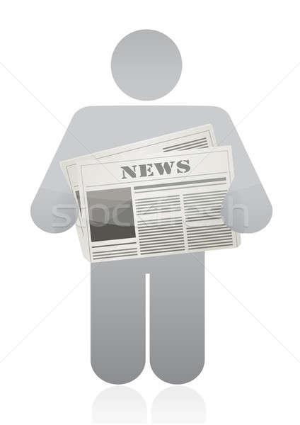 Icono periódico oficina papel hombre Foto stock © alexmillos