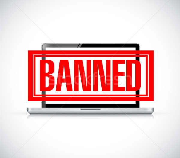 banned stamp over a laptop. illustration design Stock photo © alexmillos